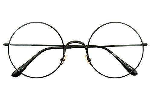 Beison Retro Large Round Optical Metal Glasses Frame Clear Lens 52mm (Black, - Lennon Spectacles John