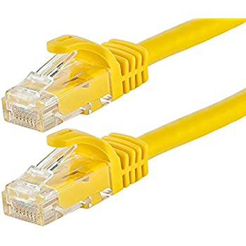 Monoprice Flexboot Cat6 Ethernet Patch Cable - Network Internet Cord - RJ45, Stranded, 550Mhz, UTP, Pure Bare Copper Wire, 24AWG, 1ft, Yellow