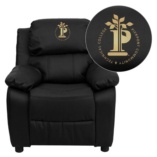 Flash Furniture Pierpont Community & Technical College Embroidered Black Leather Kids Recliner with Storage Arms ()