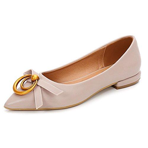 Chaussures Les Simples Des Femmes Ont Pointu La Bouche Peu Profonde Bas-talon Verni En Cuir Mode Sauvage Apricot