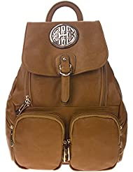 CANAL Collection Flap-Top Double Pockets Fashion Backpack With Emblem