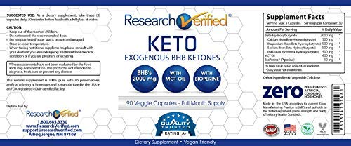 Research Verified Keto - Vegan Keto Supplement with 4 Exogenous Ketone Salts (Calcium, Sodium, Magnesium and Potassium) and MCT Oil to Boost Energy, Weight Loss and Focus in Ketosis - 6 Bottles by Research Verified (Image #3)