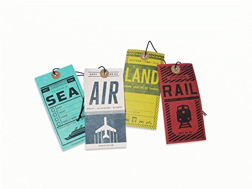 Luggage Tags: A pack of four labels for air, rail, land, and sea