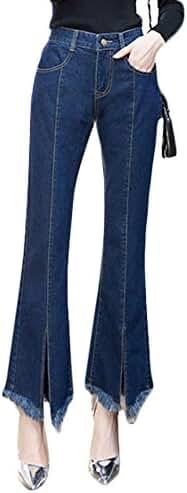 Plaid&Plain Women's Casual High Waist Crop Fringe Flare Jeans Flared Denim Jeans