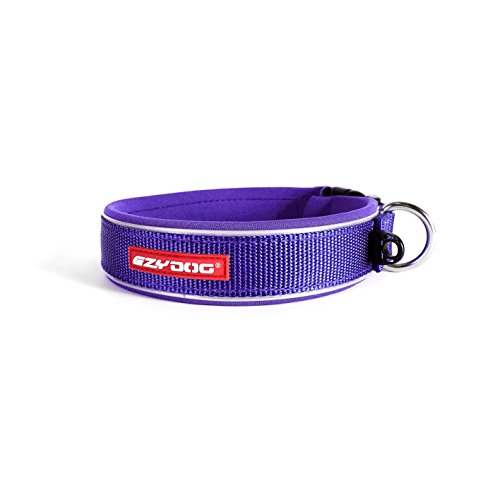 (EzyDog Neo Waterproof Dog Collar - Reflective Trim for Nighttime Safety - Adjustable Neoprene Collar with Padding for Superior Comfort - Quick Release Buckle and Built-In ID Clip (Large, Purple))