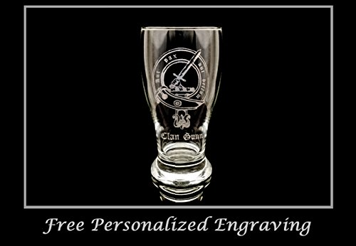 Scottish Beer (Clan Gunn Scottish Crest Pint Glass- Free Personalized Engraving, Family Crest, Pub Glass, Beer Glass, Custom Beer Glass)