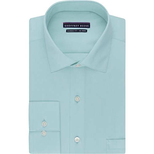 Geoffrey Beene Mens Poplin Classic Fit Dress Shirt Blue (Classic Poplin Dress Shirt)