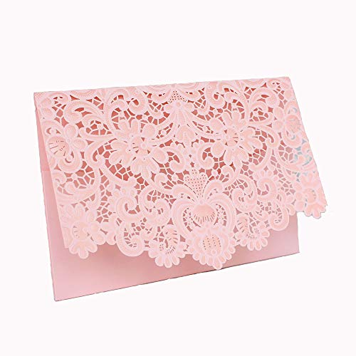 50 Pcs Exquisite Wedding Invitations Cards Lace and Hollow Pattern Cards Kits for Wedding Bridal Shower Birthday-Pink ()
