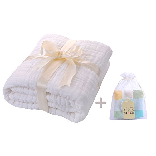UOMNY Baby Newborn Muslin Cotton Warm Baby Bath Towels Also for Baby Blanket,Natural Antibacterial,Super Water Absorbent,Super Soft Muslin Cotton Baby Bath Towels White Cotton,Baby Gifts by UOMNY
