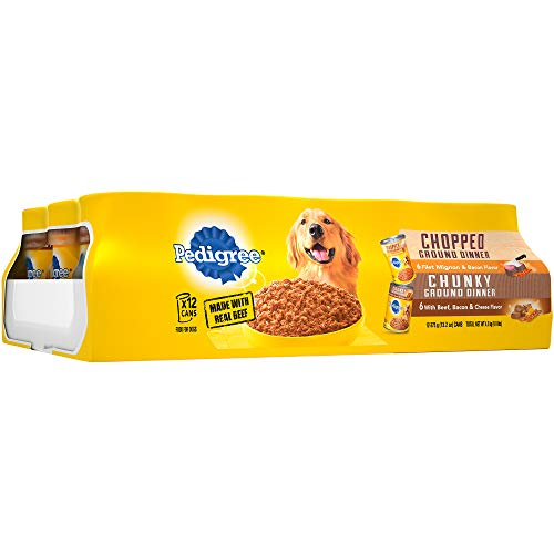 Cheap Pedigree Chopped Ground Dinner Adult Canned Wet Dog Food Variety Pack, (12) 13.5 oz. Cans