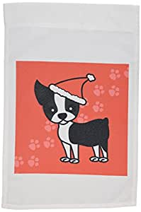 3dRose fl_12087_1 Cute Boston Terrier Red with Santa Hat Garden Flag, 12 by 18-Inch