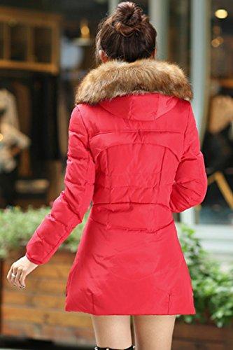 Azbro Mujer Abrigo Acolchado con Capucha de Pelaje Sintético Cierre-Cremallera Rojo