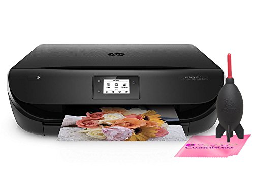 HP ENVY 4520 Wireless All-in-One Photo Printer with Mobile Printing, HP Instant Ink & Amazon Dash Replenishment ready (F0V69A) w/Complimentary Blower System & Microfiber Camera Works Cleaning Cloth by Camera Works