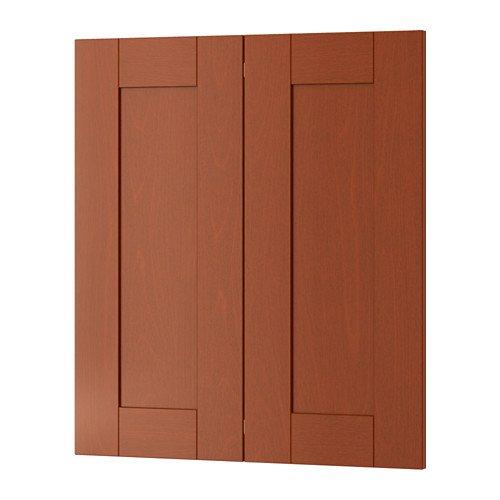 Ikea 2-p door/corner base cabinet set, medium brown 13x30 - Ikea Corner Cabinet
