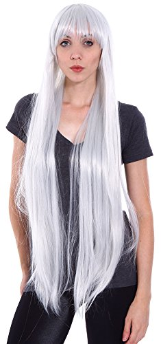 Simplicity Long Full Straight Cosplay Costume Full Hair Wigs, Silver, 40 inches