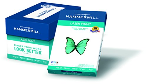 Hammermill Paper, Laser Print Paper, 24lb, 11 x 17, Ledger, 98 Bright, 2500 Sheets / 5 Ream Case, (104620C), Made In The USA