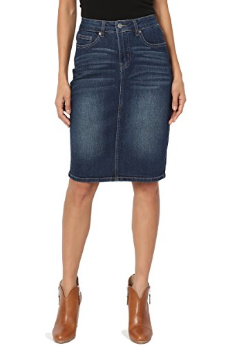 - TheMogan Women's Vintage Washed Blue Jean Pencil Midi Soft Denim Skirt Dark M