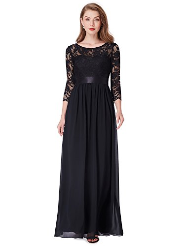 Ever-Pretty Womens Fashion Fit 3/4 Sleeve Long Cocktail Dress 6 US Black