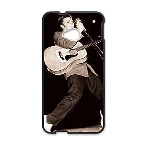 caja del teléfono celular Funda HTC uno M7 funda Negro Elvis Presley V7U6TO