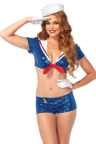 (Leg Avenue Women's 3 Piece Sequin Sailor Costume, Blue/White,)
