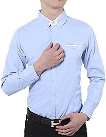 Xi peng men 39 s casual long sleeve contrast color wrinkle for Wrinkle free dress shirts amazon