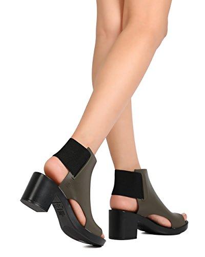 FG12 Toe 31770 Green Heel Chunky Mule PVC Dance Melissa Elastic Peep zS6nZqq