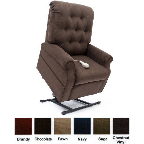Mega Motion Lift Chair Easy Comfort Recliner LC-200 3 Position Rising Electric Power Chaise Lounger - Chocolate Brown Color Fabric + Inside the Home Delivery, Setup and Box Removal