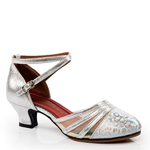 Strap 5CM net Ankle Dance Jazz Yarn 5 Samba Onecolor Soft BYLE Shoes Silver Sole Shoes Sandals Dance Dance Heeled Women's high Latin Bottom Modern Adult Leather Shoes Rubber F1tqHqx