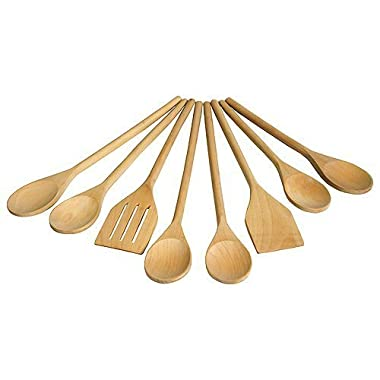 Mountain Woods UW8S Wooden Utensil Set, 8 Piece, 14 x 4 x 2