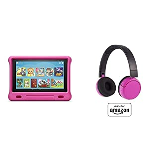 Fire HD 10 Kids Tablet 32GB Pink with Poptime (Ages 8-15) Bluetooth Headset
