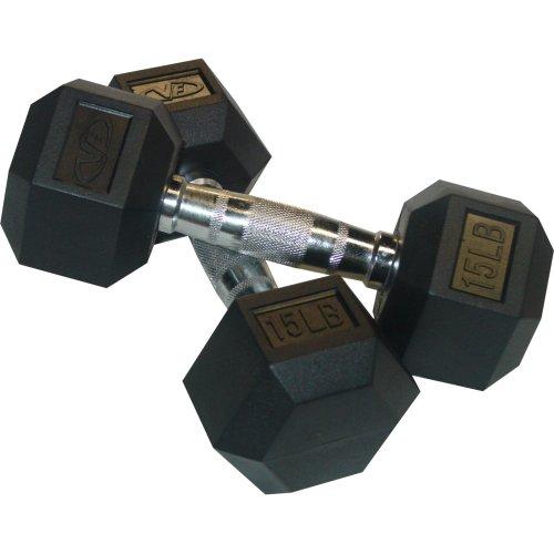 Valor Fitness Rubber Hex Dumbbell's Pair, 15-Pound