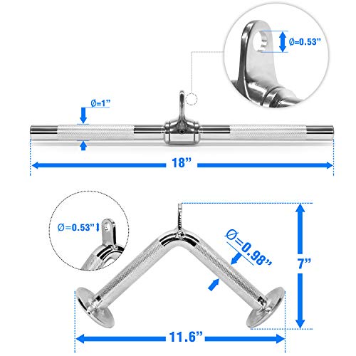 Yes4All Combo Rotating Straight Bar, V Bar Cable Attachment – Cable Bar for Strength Training by Yes4All (Image #2)