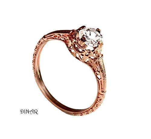 Amazon Com Vintage Morganite Engagement Ring 14k Rose Gold