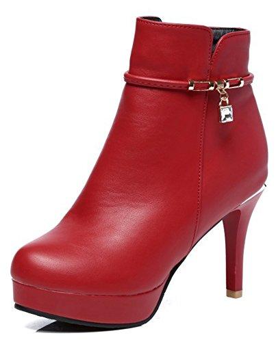 Aisun Kvinna Sexiga Höga Stilettklackar Dressat Korta Tossor Spetsig Tå Inuti Zip Upp Plattform Boots Med Dragkedja Rött