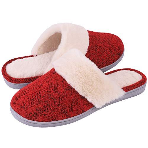 Women's Comfy Memory Foam Slide Slippers Wool-Like Plush Clog House Shoes w/Indoor Outdoor Sole(Medium / 7-8 B(M) US, Elegant Burgundy)