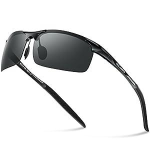 Pulabecs Men's Sports Style Polarized Sunglasses Driver Glasses Unbreakable Frame PS071 (Black Frame Black Lens, Clear)