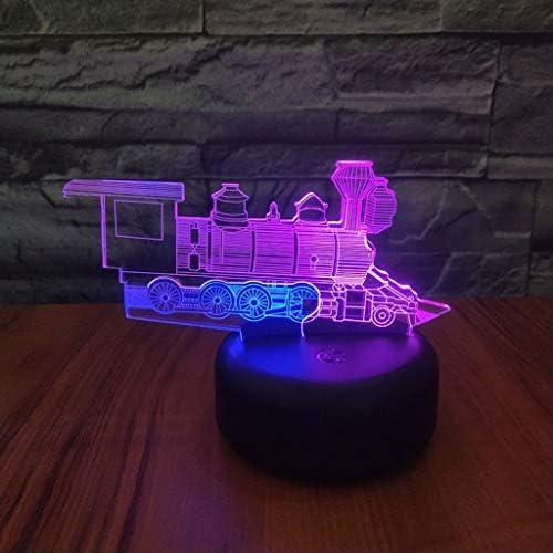 3DナイトライトトレインタイプUSB充電LEDカラフルな色の寝室2色制御目覚まし時計ベース ZHJING