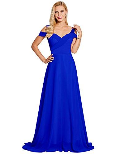 SISJULY Women's Sweetheart Sleeveless Chiffon A-Line Evening Dresses 16 Royal Blue