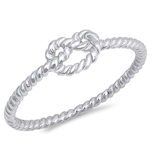 Diamond Rope Twist Ring - Oxford Diamond Co Sterling Silver Trendy! Infinity Heart Love Knot CZ Ring Size 8