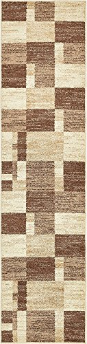 Unique Loom Autumn Collection Abstract Checkered Casual Warm Toned Light Brown Runner Rug (3' x 10')