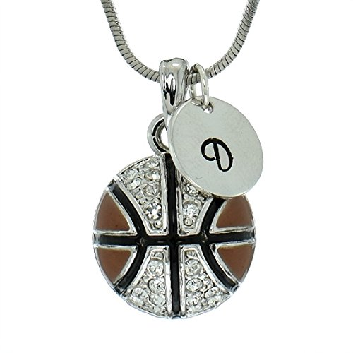Basketball Brown Ball Personalized Necklace Sparkling Clear Crystal Pendant Chain Customizable Hand Stamped Initial Letter Silver Round Custom Charm Gift Jewelry