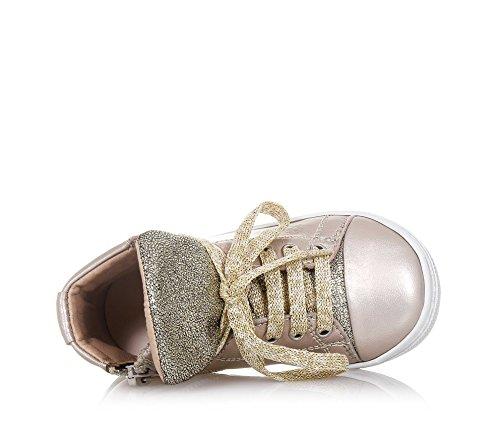 PANDA - Goldener Sneaker mit Schnürsenkeln aus Leder, made in Italy, Mädchen