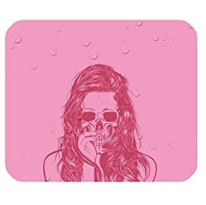 Computer Non-Slip Rubber Mouse Pad with Scared Skull theme for girls by ruishername