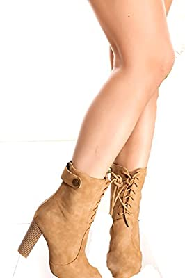 Lolli Couture Forever Link Suede Material Side Zipper Buckle Strap Fur Trim Accent Chunky High Heel Booties