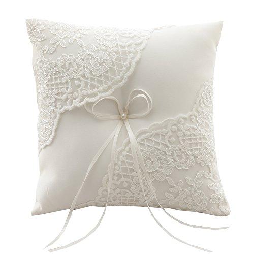 "Rimobul Wedding Ring Pillow 8.2"" x 8.2"" - Ivory"