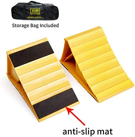 Suitable for Most Tyre Sizes Yellow,Pack of 2 and Delivery Bag 8 Long x 4.7 Wide x 4.1 high. LEAD BRAND Wheel Chocks,Non Slip Base