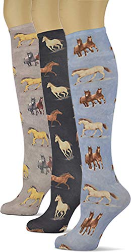 Knee High Trouser Socks w/Colorful Printed Patterns - Made in USA by Sox Trot (3 Equestrian) ()