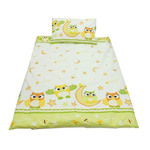 Kinderbettwäsche 100x135 Bettgarnitur Baby Bettwäsche 2 tlg. Bettset 100% Baumwolle Eulen- Bärchenmotiv, Farbe: Eulen 2 Grün, Größe: 135x100 cm
