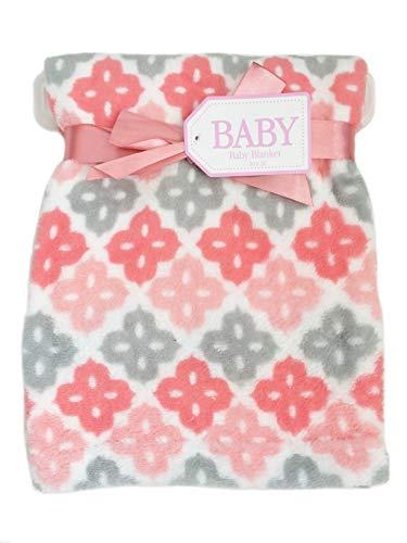 Super Soft Plush Lightweight Furry Fleece Grey White Pink Coral Clover Flower Sherpa Quilt Girl Baby Blanket Gift (30