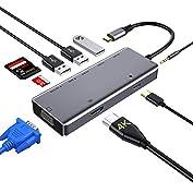 41wniIgmpYL. SS177 Haz clic aquí para comprobar si este producto es compatible con tu modelo 【Solución multifuncional】Zedela Hub tipo C con 9 puertos. Viene con un puerto de carga USB tipo C, 3 puertos USB-A Salida HDMI 4K, 1080 P VGA, ranura para tarjeta TF/Micro SD/SD y conector de 3.5 mm audio/mic jack. La amplia compatibilidad , es más conveniente que los otros hubs del mercado para satisfacer sus diversas necesidades 【Dos modos de pantalla】Puerto HDMI y puerto VGA podrían trabajar al mismo tiempo, conectaron el HDTV y el Monitor / proyector al mismo tiempo. No retrasarás el trabajo cuando juegues o mires televisión. (nota: muestra la misma imagen en ambos cuando se utiliza el puerto HDMI y el puerto VGA al mismo tiempo y la resolución máxima de los dos puertos es 1080P / 60Hz). Admite el modo de espejos y expansión, Admite el Modo DEX / PC, adecuado para conectar una pantalla a PC, teléfonos inteligentes